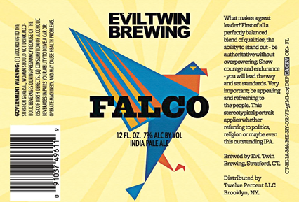 Evil Twin Falco beer Label Full Size