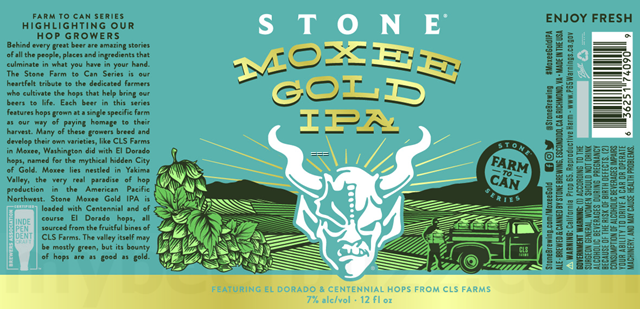 Stone Moxee Gold IPA beer Label Full Size