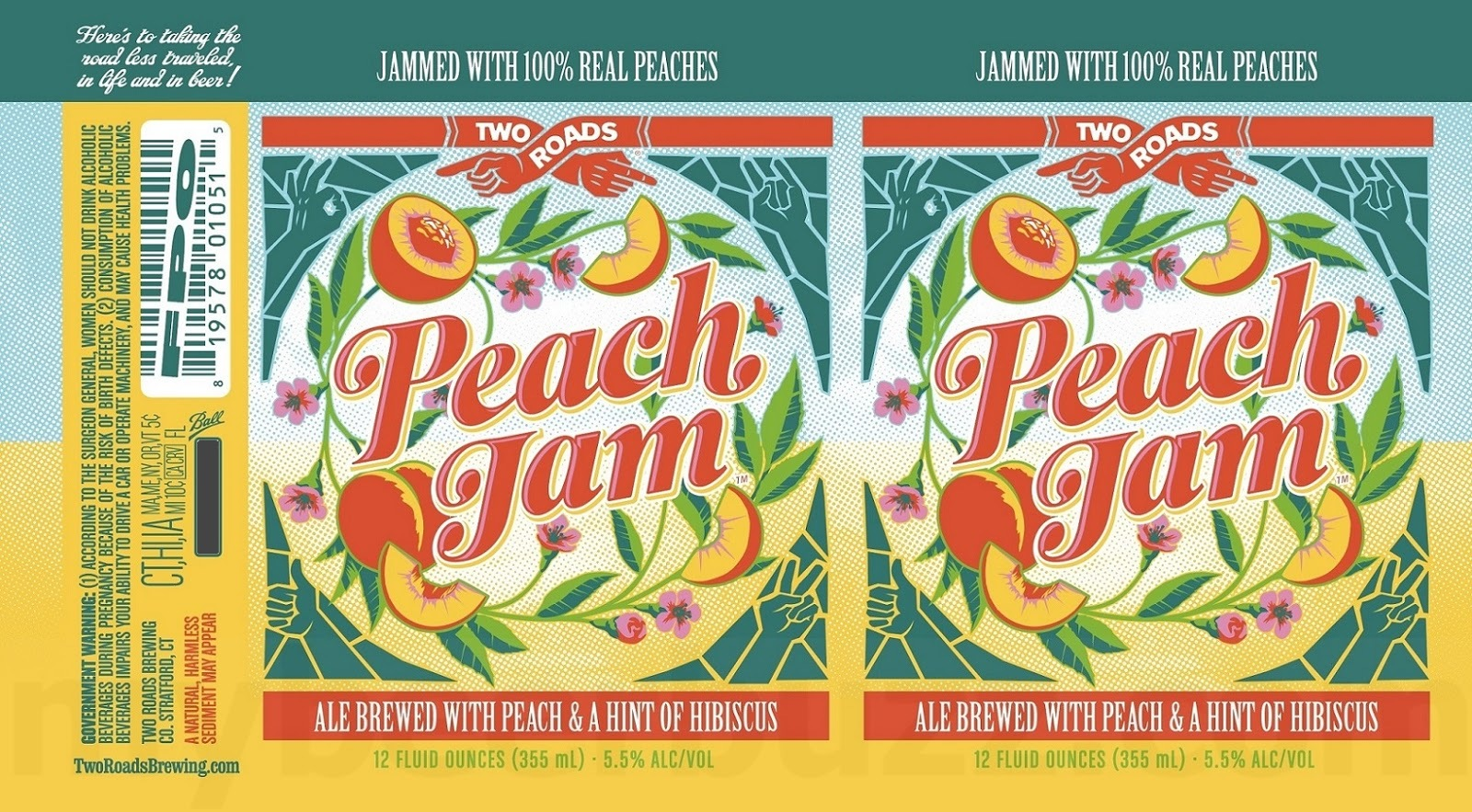 Two Roads Peach Jam beer Label Full Size