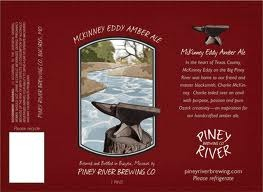 Piney River McKinney Eddy Amber Ale beer Label Full Size