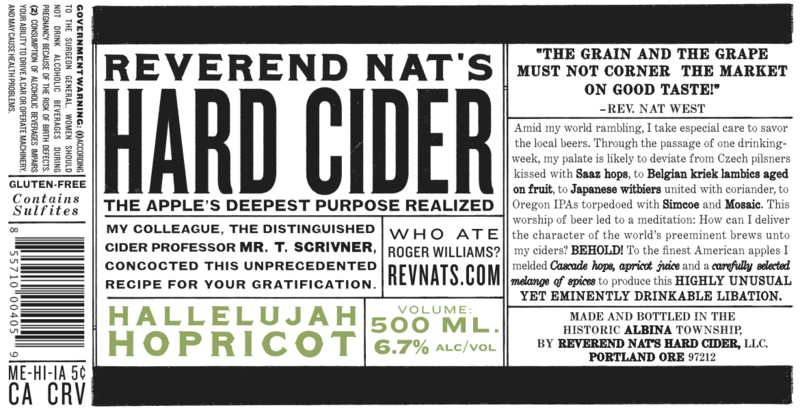 Reverend Nat's Hallelujah Hopricot beer Label Full Size