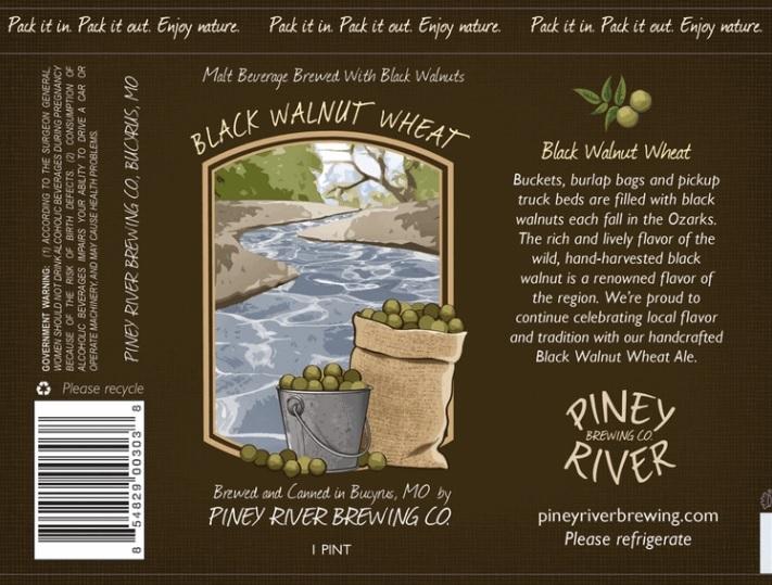 Piney River Black Walnut Wheat beer Label Full Size