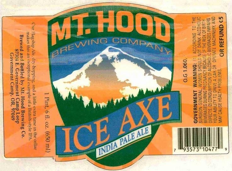 Mt. Hood Ice Axe IPA beer Label Full Size