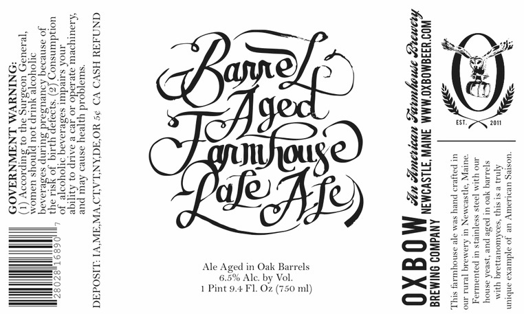 Oxbow Barrel Aged Farmhouse Pale Ale beer Label Full Size