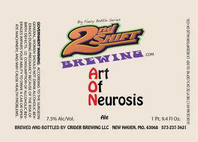 2nd Shift Art of Neurosis beer Label Full Size