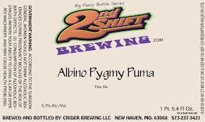 2nd Shift Albino Pygmy Puma beer Label Full Size