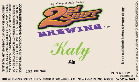 2nd Shift Katy beer Label Full Size