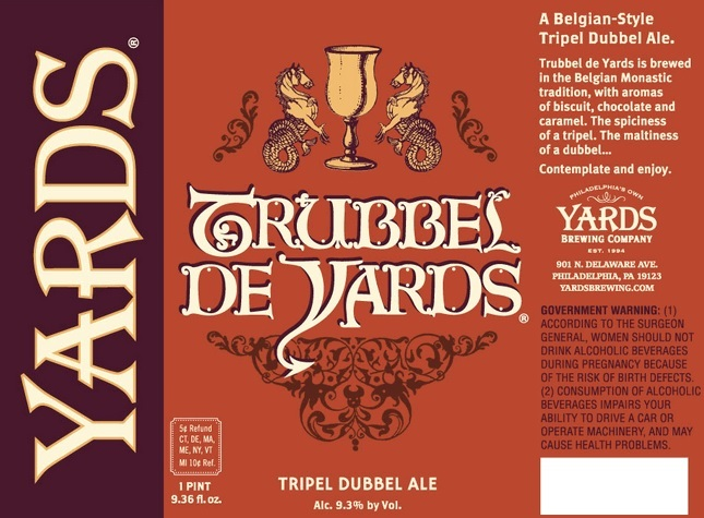 Yards Dubbel Trubbel beer Label Full Size