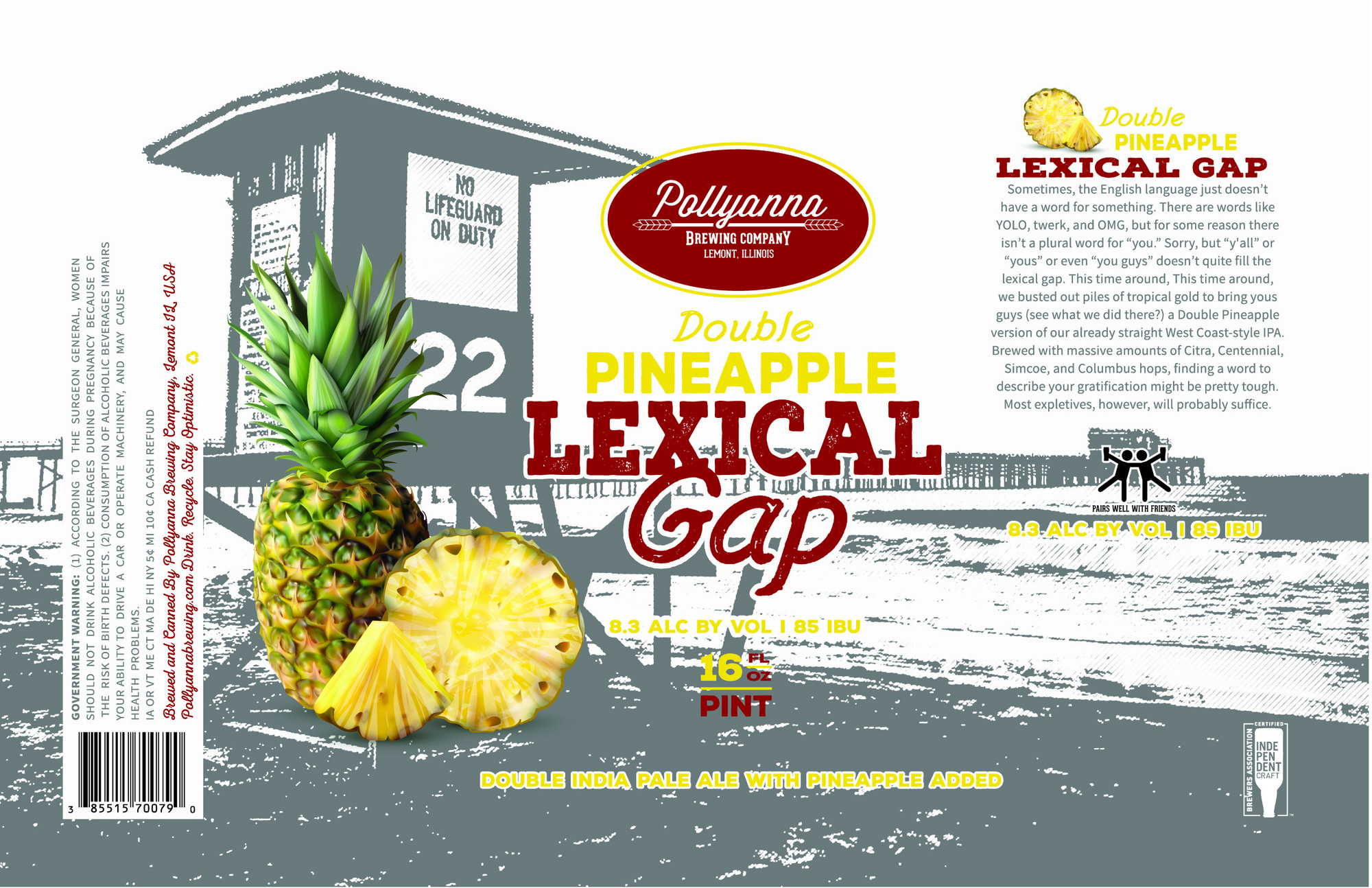 Pollyanna Double Pineapple Lexical Gap beer Label Full Size