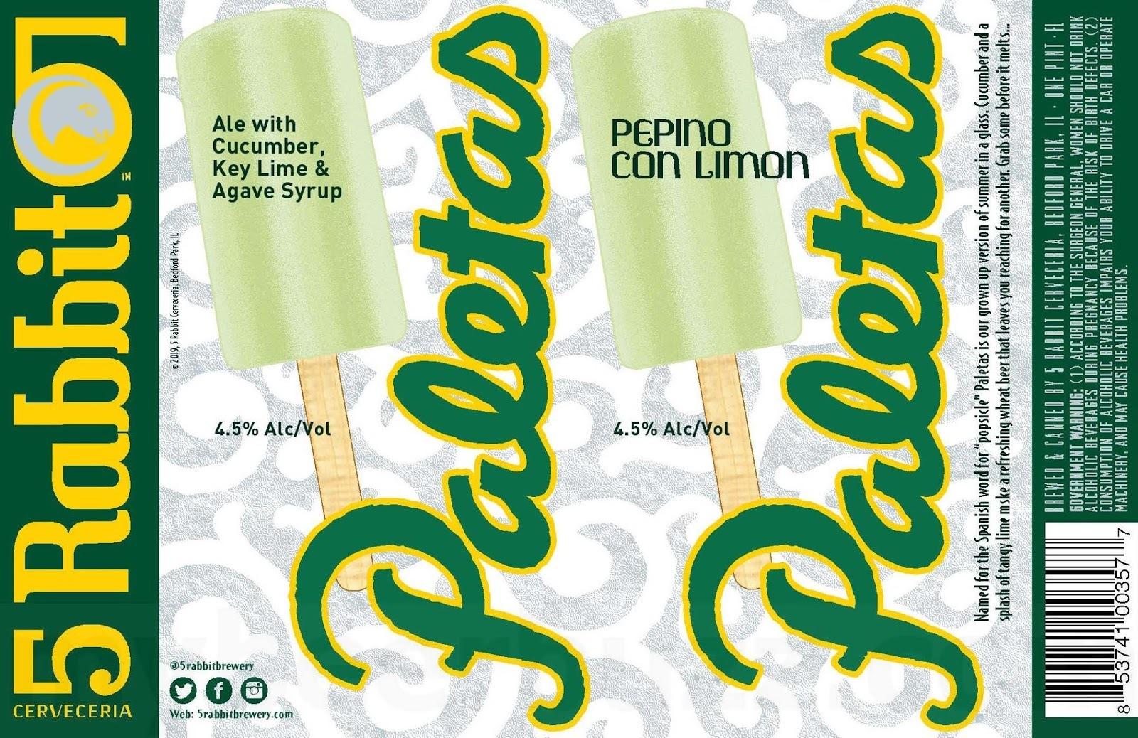5 Rabbit Pepino Con Limon Paletas beer Label Full Size