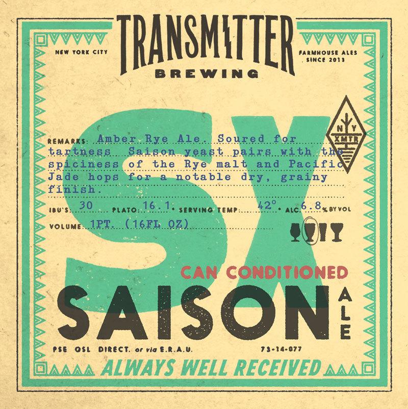 Transmitter S10 Spruce Tip Saison beer Label Full Size