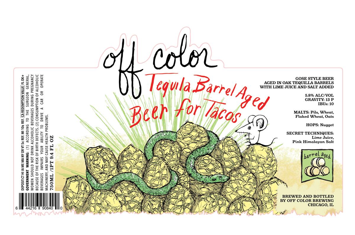 Off Color Barrel Aged Beer for Tacos beer Label Full Size