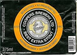 Coopers Best Extra Stout beer Label Full Size