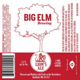 Big Elm Lion's Ale beer Label Full Size