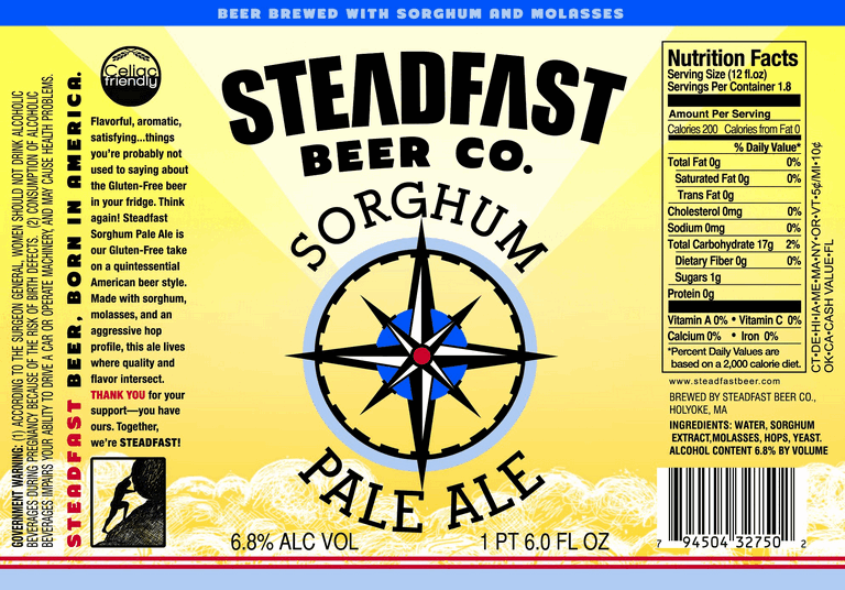 Steadfast Pale Ale Gluten Free beer Label Full Size