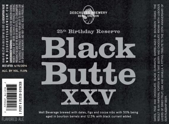 Deschutes Black Butte XXV beer Label Full Size
