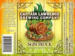 Captain Lawrence Sun Block beer Label Full Size