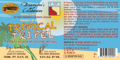 Cigar City / De Proef - Brewmaster's Collaboration Tropical Tripel beer Label Full Size