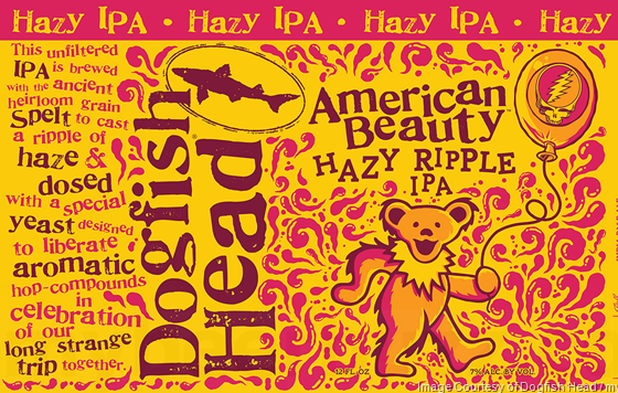 Dogfish Head American Beauty Hazy Ripple beer Label Full Size