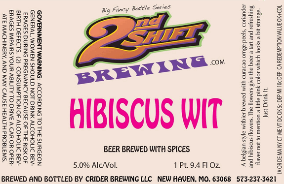2nd Shift Hibiscus Wit beer Label Full Size