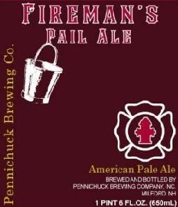 Pennichuck Fireman's Pail Ale beer Label Full Size