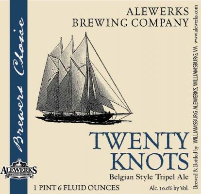 Alewerks 20 Knots Tripel beer Label Full Size