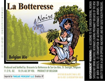 La Botteresse Noire beer Label Full Size