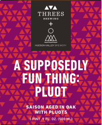 Threes / Hudson Valley A Supposedly Fun Thing (Pluot) beer Label Full Size