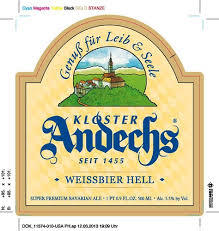 Andechser Weissbier Hell beer Label Full Size