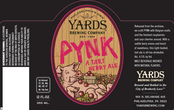 Yards Pynk beer Label Full Size