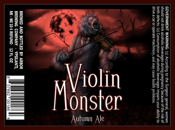Arbor Violin Monster beer Label Full Size