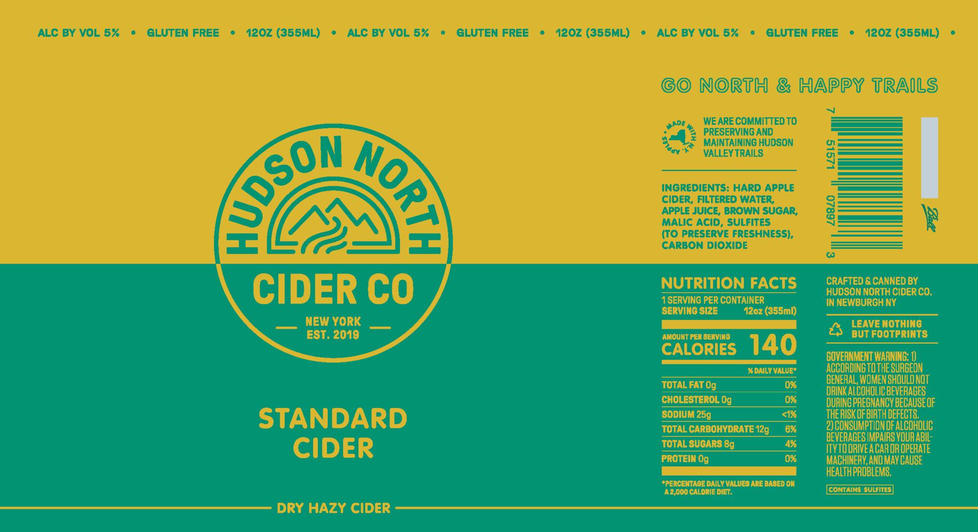 Hudson North Standard beer Label Full Size