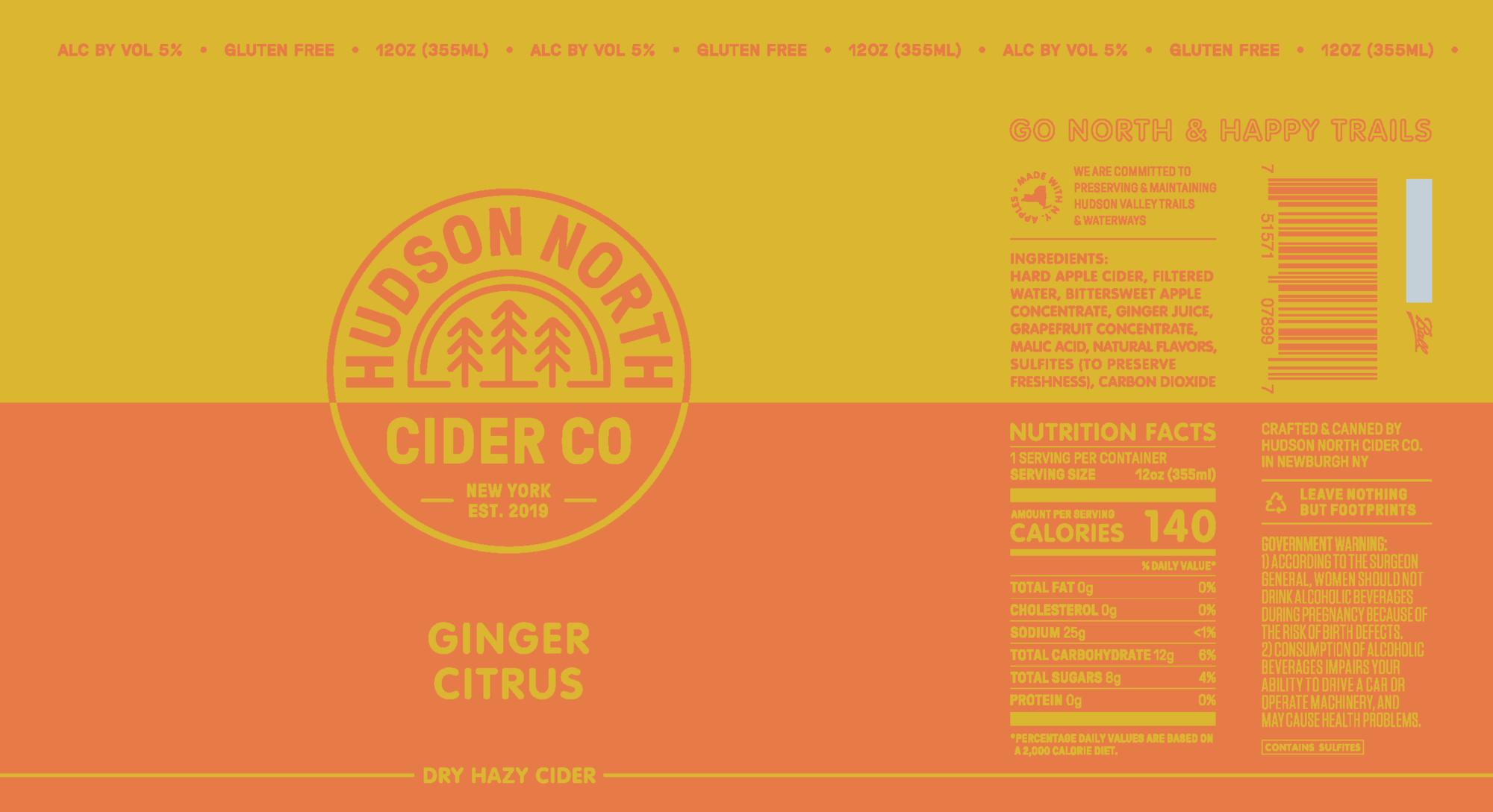 Hudson North Ginger Citrus beer Label Full Size