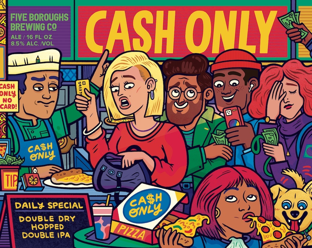 Five Boroughs Cash Only beer Label Full Size