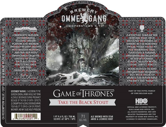 Ommegang Game of Thrones #2 Take the Black Stout beer Label Full Size