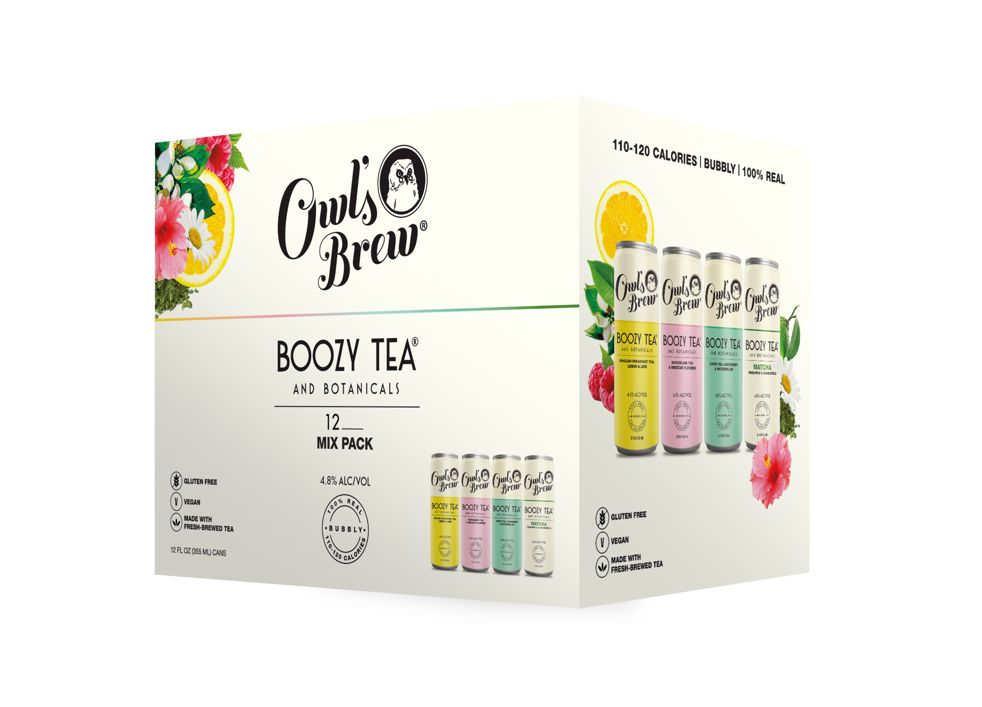 Owls Brew Boozy Tea Variety 6 Pk beer Label Full Size