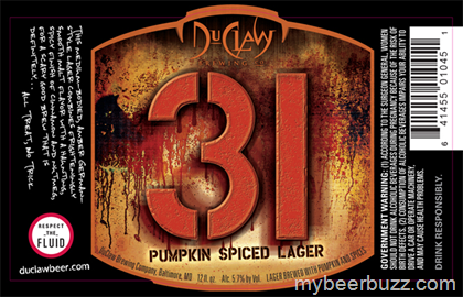 DuClaw 31 Pumpkin Spiced Lager beer Label Full Size
