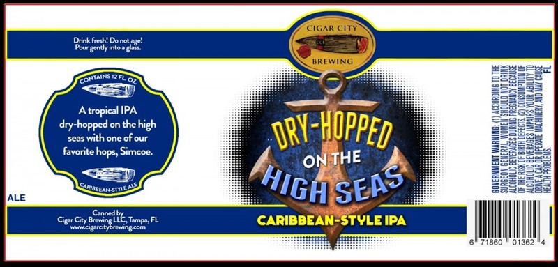 Cigar City Dry-Hopped on the High Seas beer Label Full Size