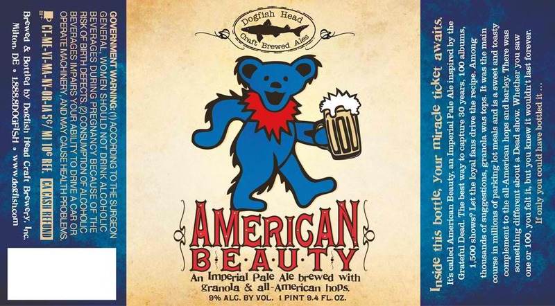 Dogfish Head American Beauty beer Label Full Size