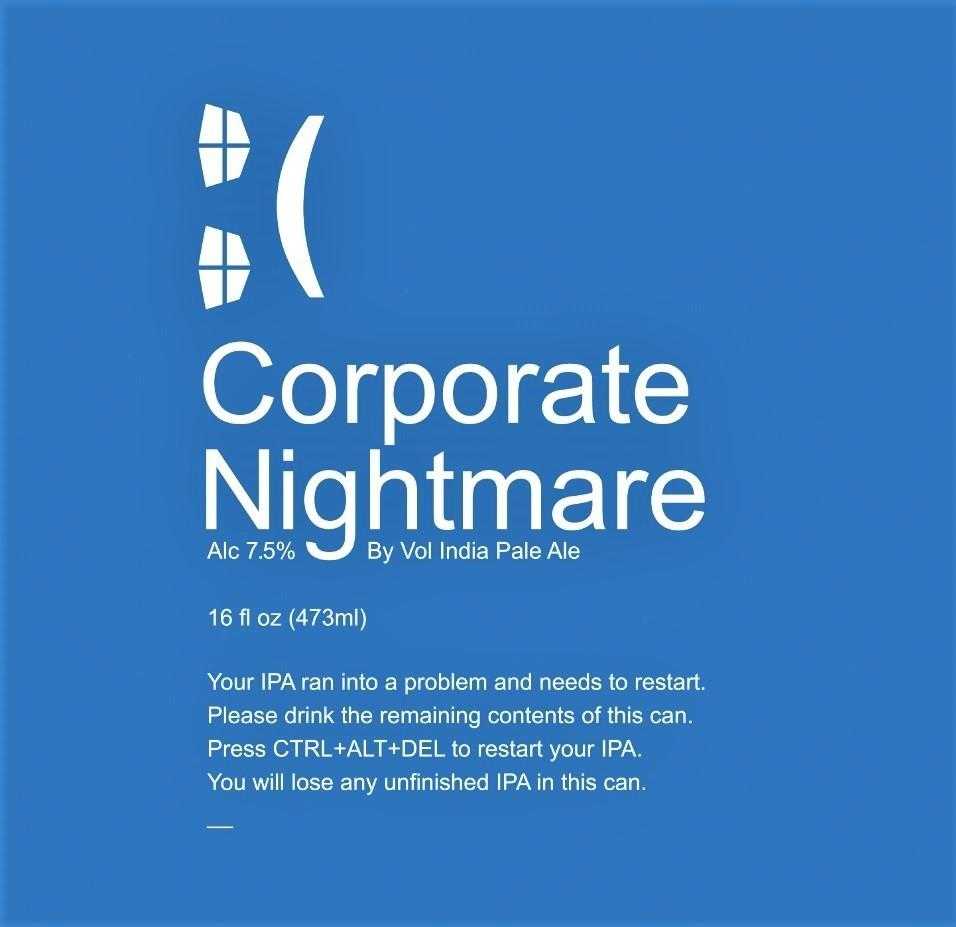 Virginia Beer Co. Corporate Nightmare beer Label Full Size