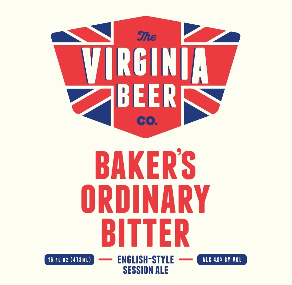 Virginia Beer Co. Baker's Ordinary Bitter beer Label Full Size