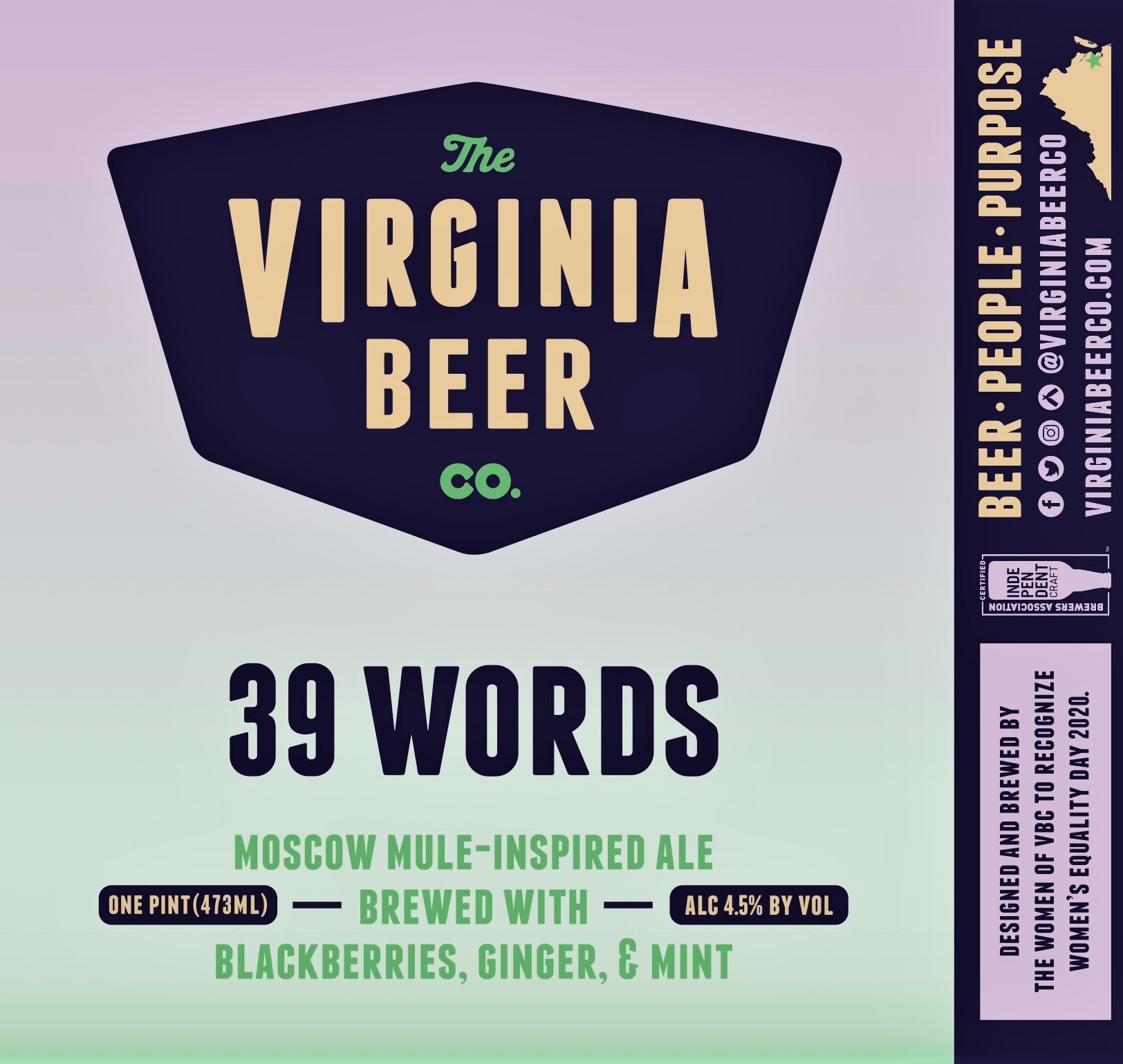 Virginia Beer Co. 39 Words (2020) beer Label Full Size
