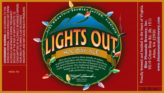 Blue Mountain Lights Out beer Label Full Size