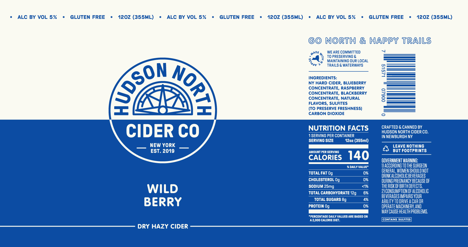Hudson North Wild Berry beer Label Full Size
