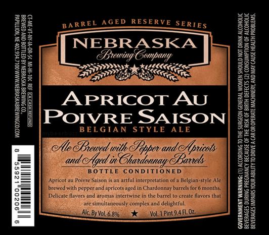 Nebraska Apricot Au Poivre Chardonnay Barrel Aged Saison beer Label Full Size