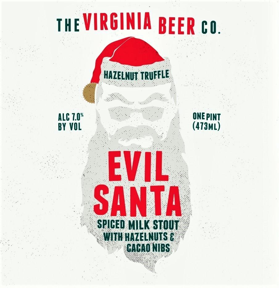 Virginia Beer Co. Hazelnut Truffle Evil Santa beer Label Full Size