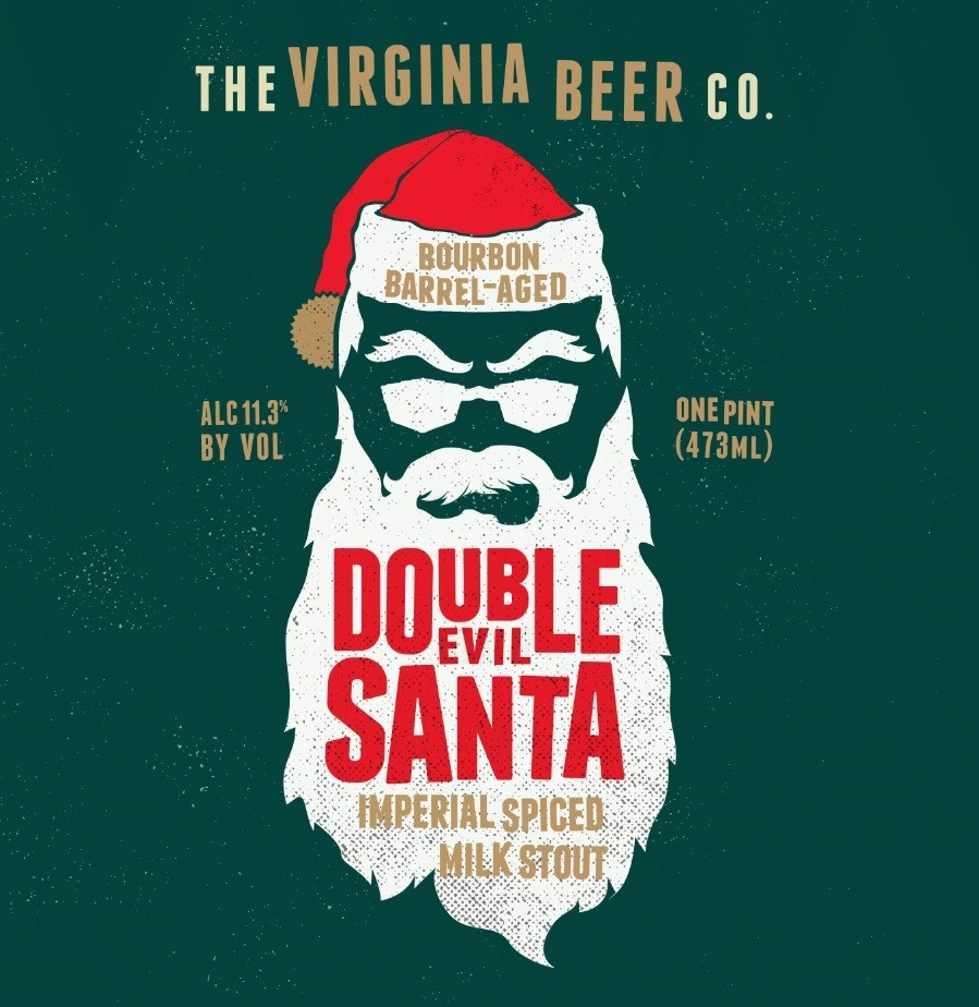Virginia Beer Co. Double Evil Santa beer Label Full Size