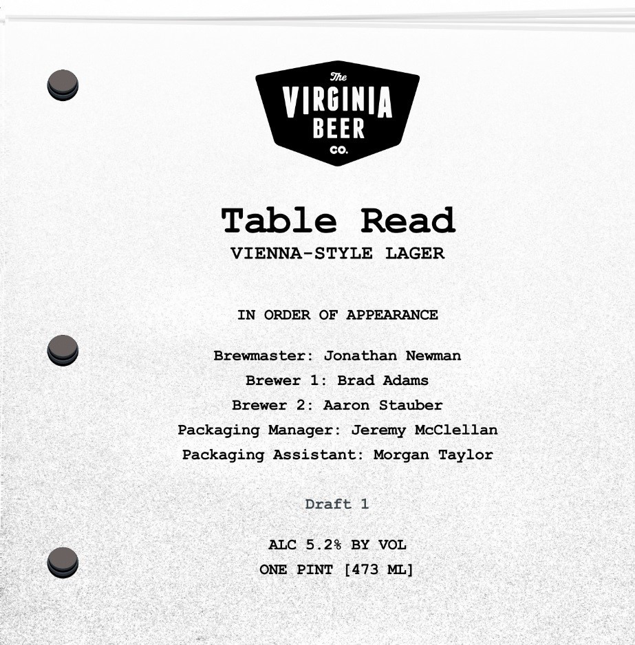 Virginia Beer Co. Table Read beer Label Full Size
