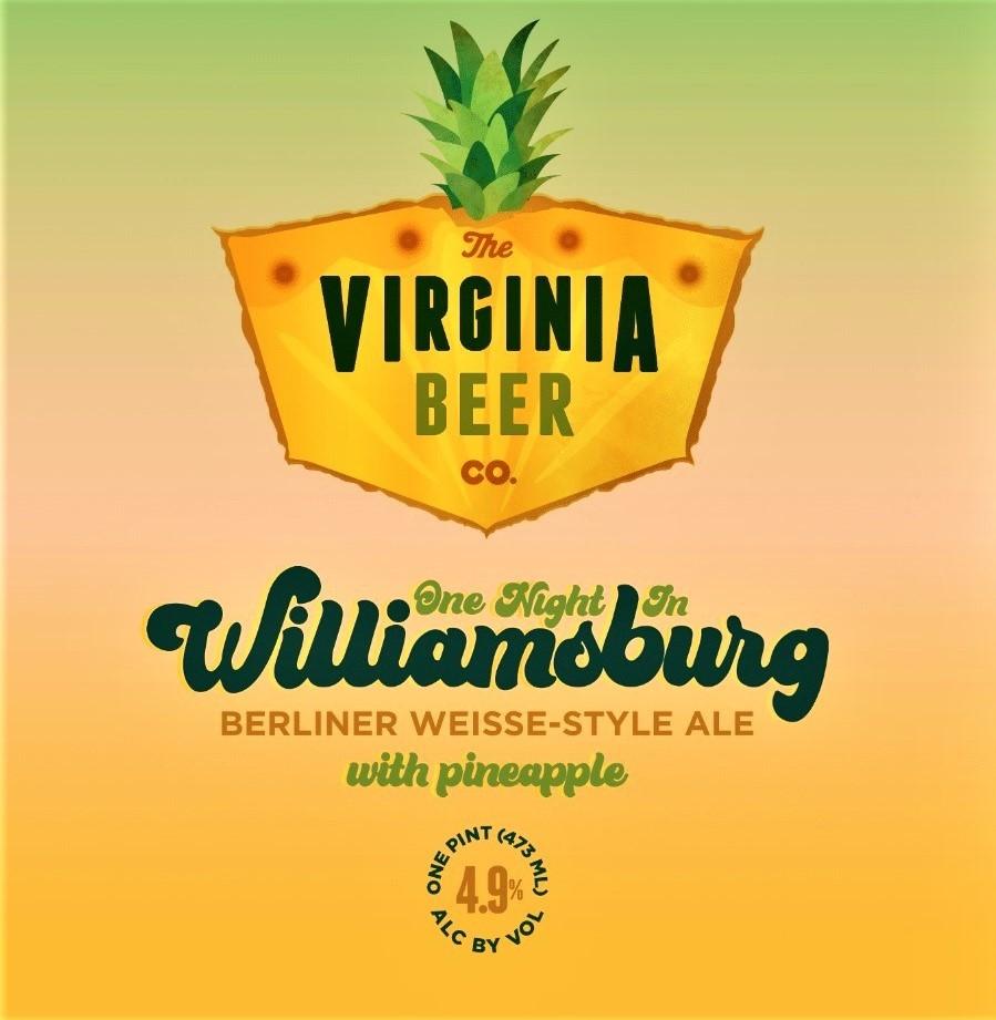 Virginia Beer Co. One Night In Williamsburg beer Label Full Size