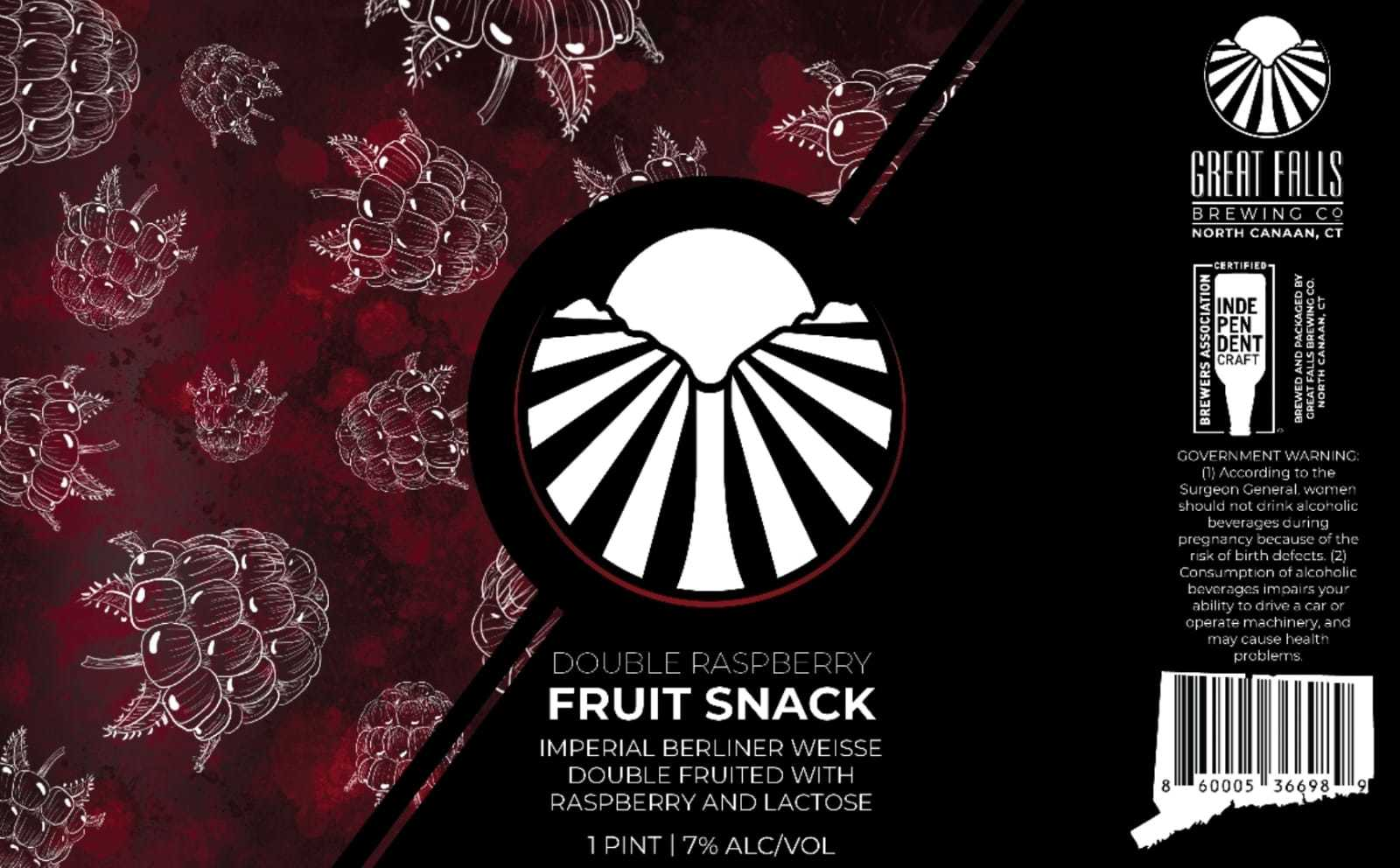 Great Falls Double Raspberry Fruit Snack beer Label Full Size